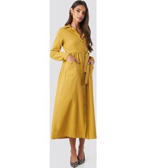 trendyol belted shirt midi dress - yellow