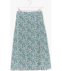 womens at my slits end floral midi skirt - sage