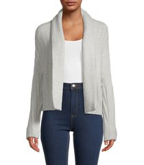 vince women's ribbed shawl-collar cardigan - light grey - size l