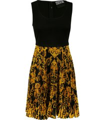 versace jeans couture printed pleated skirt sleeveless dress
