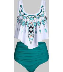 ethnic geometric print high waisted asymmetrical tankini swimwear