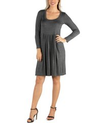 24seven comfort apparel women's knee length pleated long sleeve dress