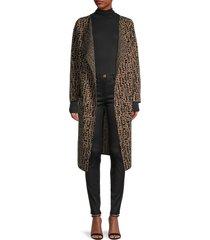 donna karan women's geometric knit duster - black camel - size m