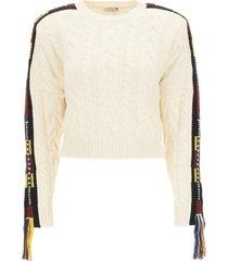 etro crew neck sweater with fringes