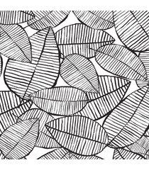 papel de parede folhagem preto e branco 57x270cm - preto - dafiti