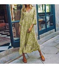 vestido camisero de corte bajo con estampado floral y manga acampanada para mujer zanzea -verde
