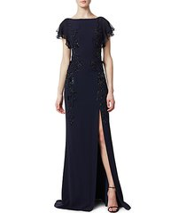 leg slit beaded crepe gown