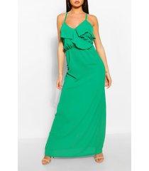 strappy ruffle detail maxi dress, green