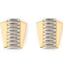jean louis scherrer pre-owned corset clip-on earrings - metallic