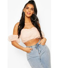 organza off the shoulder crop top, blush