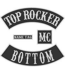 "custom embroidered 11"" full vest set rocker patch biker badge (b) - 4 pc"