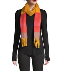 wool striped fringe scarf
