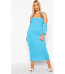 plus open shoulder maxi dress, turquoise