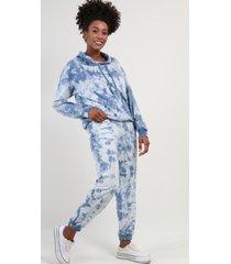 conjunto con capucha tie dye azul night concept