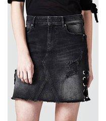 dżinsowa spódnica z wiązaniem