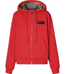 burberry vintage check zipped hoodie - red