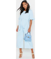 maternity tie waist ruffle culotte jumpsuit, pale blue