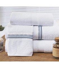 jogo de toalhas (banho e rosto) super grande coleção antilhas azul e branco algodão 200 fios com 5 peças - bernadete casa,