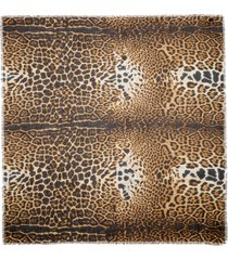 women's saint laurent leopard square scarf, size one size - beige