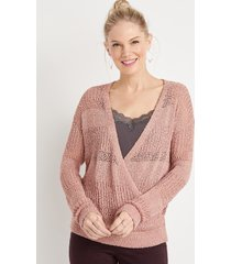 maurices womens wrap front pullover pink