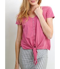 coin 1804 womens eyelet tie front t-shirt