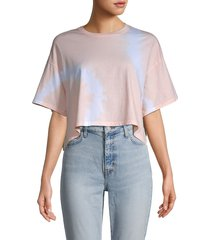 french connection women's tie-dyed cotton cropped t-shirt - pink tie dye - size l