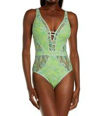 women's becca mosaic show & tell one-piece swimsuit, size medium - green