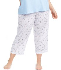 charter club plus size cotton printed cropped pajamas pants, created for macy's