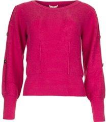 trui met mouwdetails blasius  roze