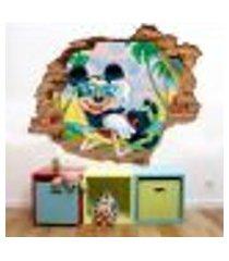 adesivo de parede buraco falso 3d mickey praia - p 45x55cm