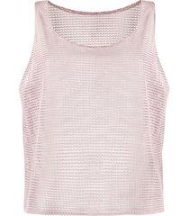 forte dei marmi couture leather mesh vest top - pink