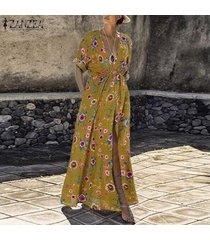 zanzea mujeres maxi beach party largo vestido de tirantes club del coctel de vacaciones vestido floral -amarillo