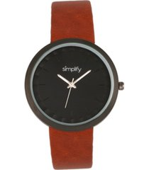 simplify quartz the 6000 light brown leatherette watch 43mm