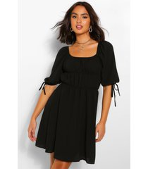 balloon sleeve smock dress, black