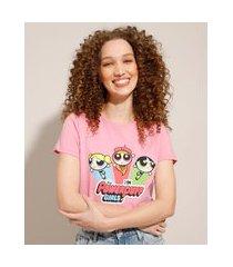 camiseta de algodão as meninas superpoderosas manga curta decote redondo rosa