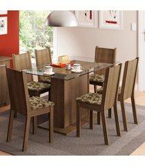 conjunto sala de jantar madesa gales mesa tampo de vidro com 6 cadeiras marrom - marrom - dafiti