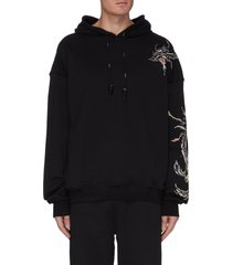 rosefinch embroidered black hoodie