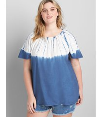 lane bryant women's tie-dye gathered-neck top 30/32 blue and white ombre
