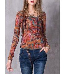 camicette da donna a maniche lunghe stampate stile folk vintage