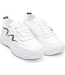 tenis lineas curvas negras color blanco, talla 36