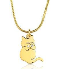 colar toque de joia gato zircônias ouro amarelo