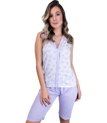 pijama mvb modas pescador aberto botões adulto lilás - kanui