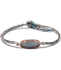 brooke gregson 14kt rose gold aquamarine woven bracelet - pink