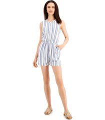 style & co petite woven striped romper, created for macy's