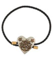 alexander mcqueen pulseira com pingente de coração - preto