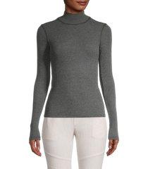 james perse women's turtleneck cotton-blend sweater - black - size 0 (xs)