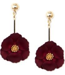 zenzii 18k gold-plated suede-painted flower drop earrings
