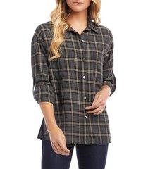 women's karen kane plaid button tab shirt, size x-small - blue