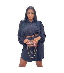 vestido camisão chemise social mullet manga longa botões preto