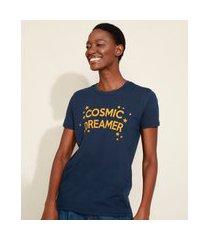 "t-shirt feminina mindset cosmic dreamer"" flocada manga curta decote redondo azul marinho"""